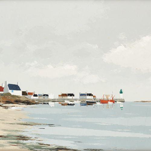 Jacques WOLMANS École belge (1919 1991) Huile sur panneau: Port breton à marée d…