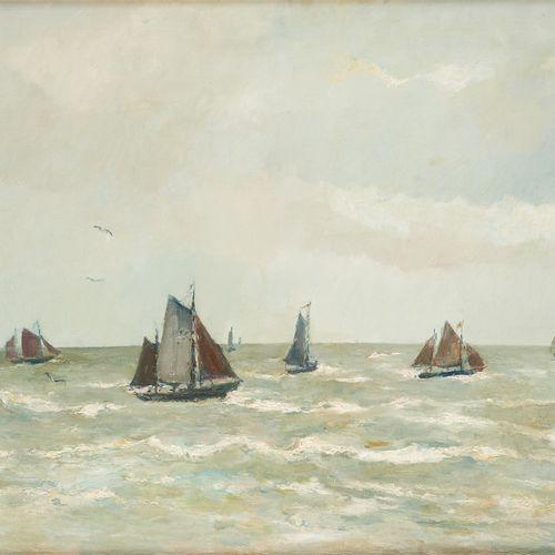René CLAROT École belge (1882 1972) Huile sut toile: Régate par force 4.  Signée…