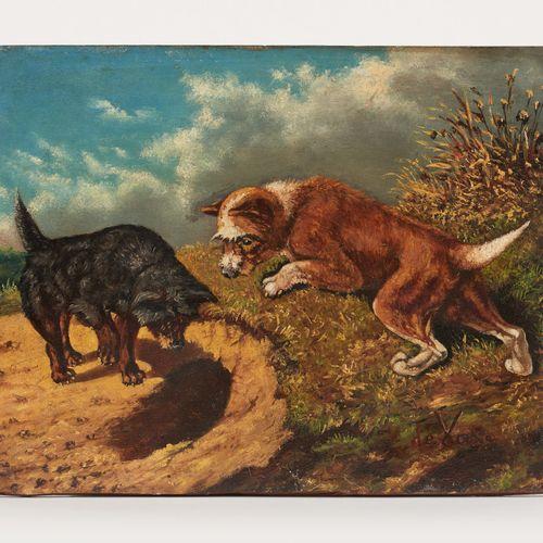 Vincent DE VOS École belge (1829 1875) Huile sur panneau: Deux chiens au terrier…