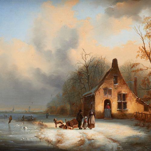 Jacobus Josephus EECKHOUT École belge (1793 1861) Huile sur panneau: Patineurs a…