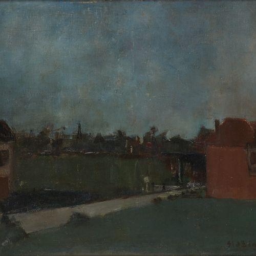 Rik SLABBINCK École belge (1914 1991) Huile sur toile: Promeneur au crépuscule. …