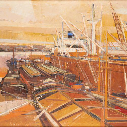 """Georges GEOROY École belge (1906 1983) Huile sur toile: """"Port"""".  Signée: Georoy,…"""