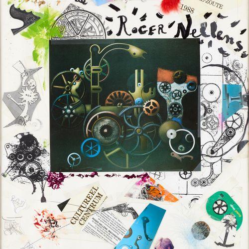 Roger NELLENS École belge (1937) Technique mixte, collage: Composition.  Signée,…