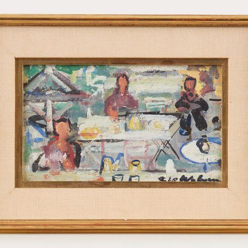 Henri Victor WOLVENS École belge (1896 1977) Huile sur panneau: Terrasse animée.…
