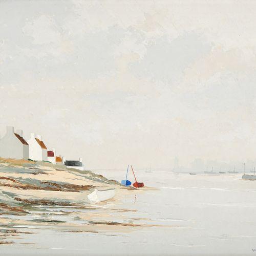 """Jacques WOLMANS École belge (1919 1991) 油画:""""莫尔比昂省的河口""""。  签名:Wolmans,背面有标题。  尺寸:40…"""