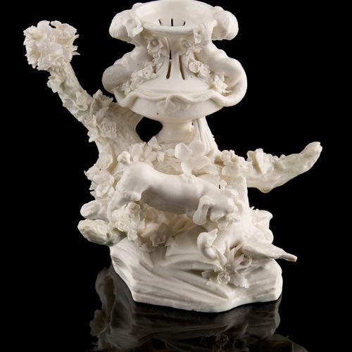 Tournai 18e. 陶瓷:白色釉面瓷盆前的狗和鸭子。  (小的损坏和修复)。  尺寸:高16厘米。  见插图。