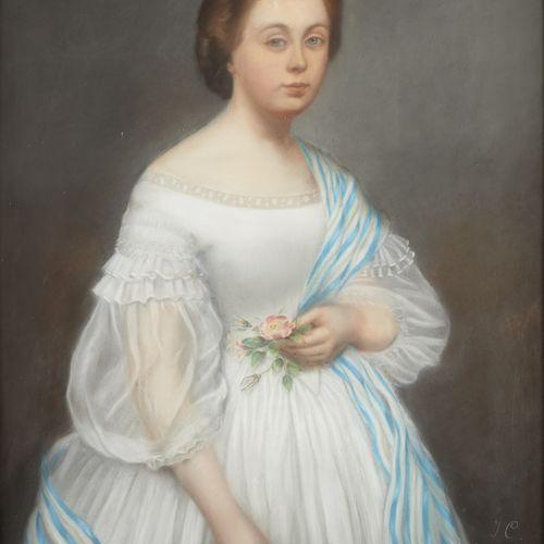 École française 19e. 纸上粉彩:拿着花的年轻女孩的肖像。  有图案和日期:JC 1863。  尺寸:93 x 74厘米。