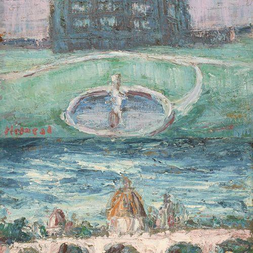 Holmead PHILLIPS École américaine (1889 1975) 画布上的油彩安装在面板上(两套)。喷泉》和《1968年的粉红桥》。 …
