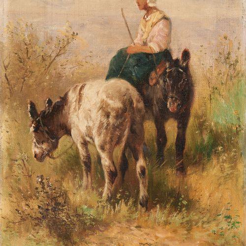 Henry SCHOUTEN École belge (1857/64 1927) 布面油画:沙丘上的两头驴子和它们的饲养员。  签名:亨利 舒顿。  尺寸:3…
