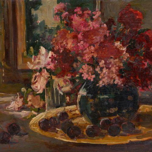 Hubert GLANSDORFF École belge (1877 1963) 板上油画:有花和李子的构图。  签名和日期:Glansdorff 20.  …