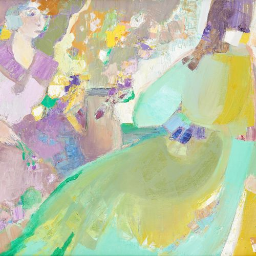 Livia VAJDA École française (1929 2011) Huile sur toile: Conversation.  Signée: …