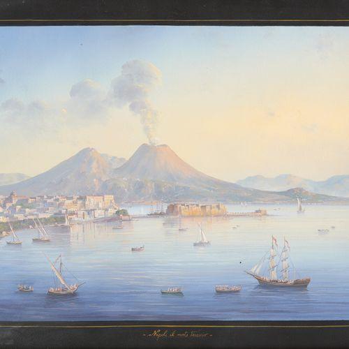 """Travail italien 20e. 纸上水粉画:""""Napoli il monte Vesuvio""""。  题目是。  尺寸:图像35 x 46厘米。"""