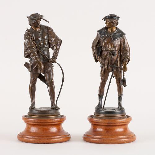 """Emile Louis PICAULT École française (1833 1915) 两种青铜雕塑(一套两件):""""Archer """"和 """"Escholi…"""
