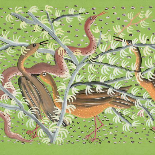 Jean Bosco KAMBA École congolaise (1939) Gouache sur carton: Oiseaux et serpents…