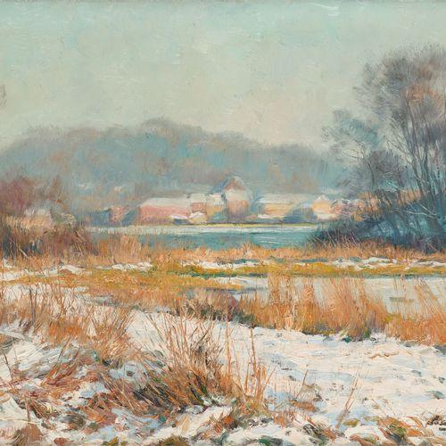 Louis CLESSE École belge (1889 1961) 布面油画:雪白的河岸。  签有印章:Louis Clesse,背面有艺术家妻子的证明。…