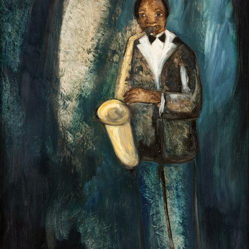 Paul PERMEKE École belge (1918 1990) 布面油画:萨克斯风手。  签名和日期:P. Permeke 88,背面有会签和奉献。 …