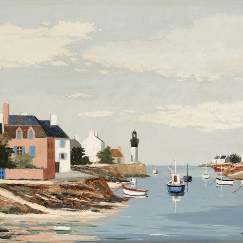 """Jacques WOLMANS École belge (1919 1991) 板上油画:""""海峡""""。  签名:Wolmans,背面是艺术家的卡片,为作品题词。 …"""