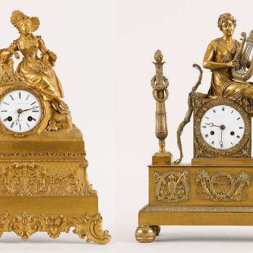 """Bruxelles 19e. 钟表:拍品包括两个镀金铜钟 """"Joueur de lyre """"和 """"Jeune fille au bouquet de fleur…"""