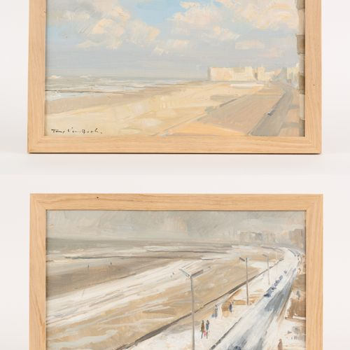 Tony VAN GOOLEN École belge (1924 1985) 画布上的油彩安装在面板上(两套)。北海的景色。  签名:Tony Van Goo…