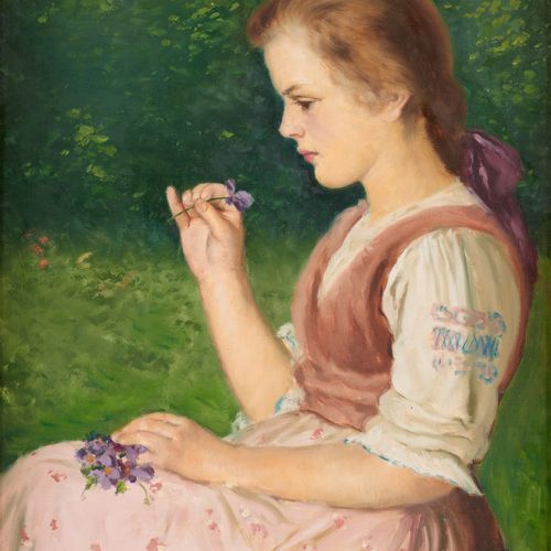 Roza MOLNAR École hongroise (1900 1977) Huile sur toile: Jeune fille aux pensées…