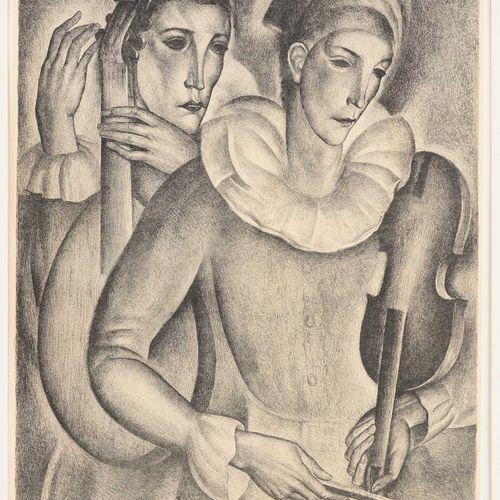 Anto CARTE École belge (1886 1954) 印刷品,纸上黑白石版画:音乐家们。  签名:安托 卡尔特,印刷品说明95/100。  尺寸…