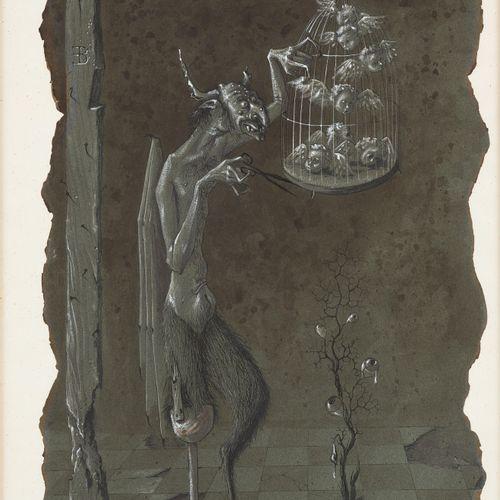 Enrico BRANDANI École italienne (1914 1979) 纸上混合媒体:笼中的天使。  有图案的EB,署名和日期为Brandani…