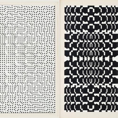 Travail du 20e. 印刷品,纸上黑白石版画:动感的构成。  右下方有签名和日期66,印刷品证明11/25。  附上了一张胶印的拼贴画。  尺寸:36…