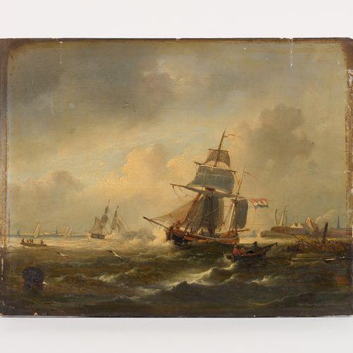 Egide LINNIG École belge (1821 1860) 板上油彩(分割)。渔民离去。  有图案和日期:EL为Égide Linnig 1865…