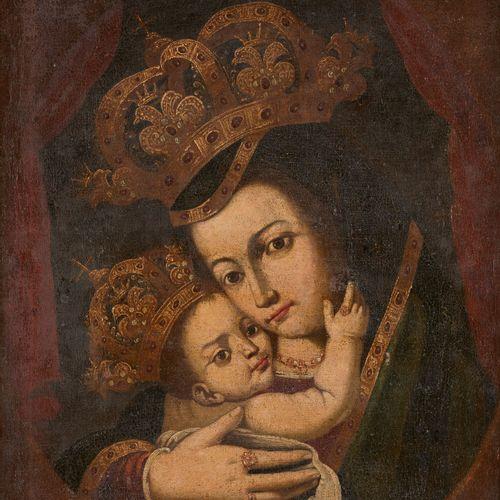 Amérique latine circa 1800. Huile sur toile: Vierge à l'Enfant couronnés.  Dim.:…