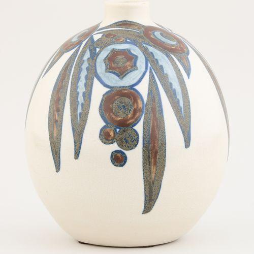 Charles CATTEAU (École belge) Céramique: Vase en grès émaillé à décor floral sty…