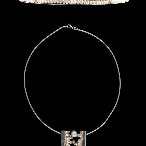 Jean Pierre DE SAEDELEER (École belge) 珠宝:拍品包括一顶925/1.000e银制皇冠和一个吊坠以及养殖珍珠。  有Sae…