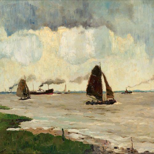Léon LONDOT École belge (1878 1953) 布面油画:《斯海尔德河上的渔船》。  签名:L. Londot,背面有皇家画廊的标签。 …