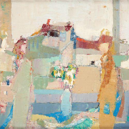 Livia VAJDA École française (1929 2011) Huile sur toile: Femmes à la fenêtre.  S…