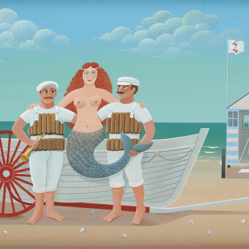 """Jean Pierre LORAND École belge (1939) 镶嵌在画板上的油画:""""Les sauveteurs。  签名:J.P. Lorand…"""