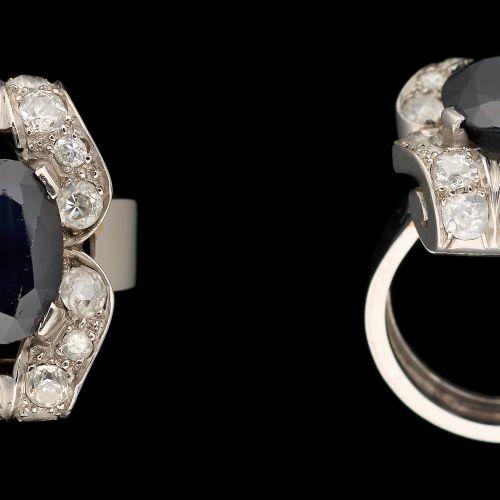 Joaillerie. 珠宝:白金戒指,镶有+/ 3.80克拉的澳大利亚蓝宝石和+/ 1克拉的老式切割钻石。  手指大小:+/ 52。
