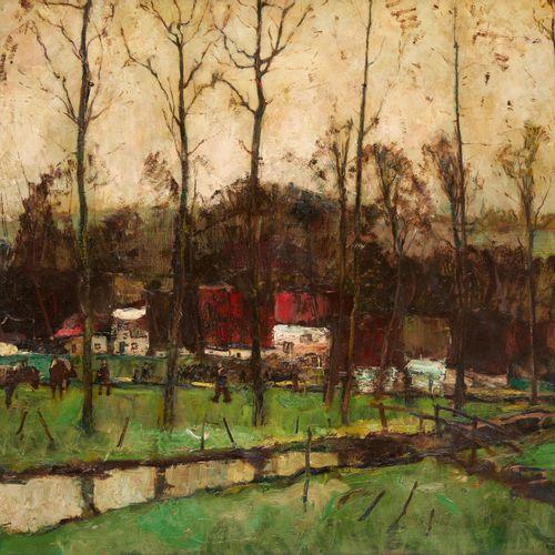"""Paul HERMANS École belge (1898 1972) Huile sur toile: """"Soir au Vieux Pays"""".  Sig…"""