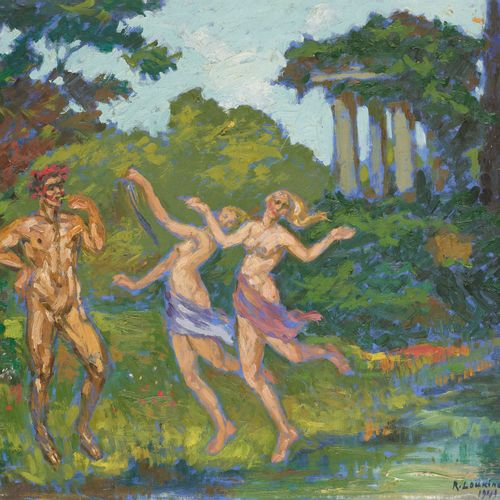 Rostislas LOUKINE École russe (1904 1988) Huile sur toile: Faune et muses dansan…