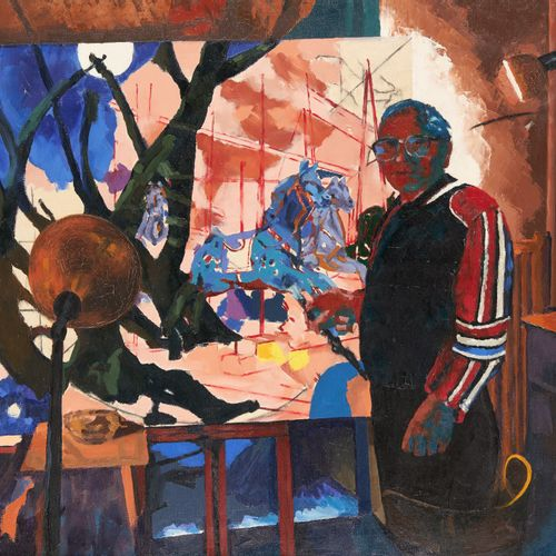 Ignace GUISSET École belge (1920 2000) 布面油画:艺术家在工作室工作时的自画像。  签名:I. Guisset。  一些文…
