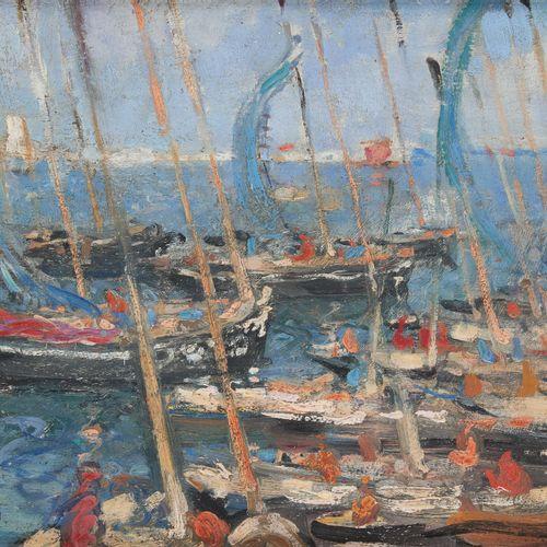Fernand ALLARD L'OLIVIER École belge (1883 1933) 板上油画:洛比托渔港风光。  签名:Allard l'Oliv…