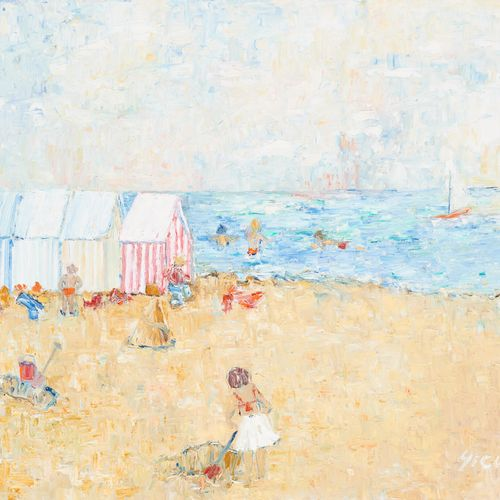 Mireille CLOSE École belge (1941). 布面油画:《北海边的孩子》。  签名:米。关闭。  尺寸:50 x 60厘米。
