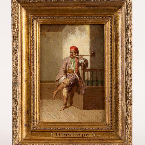 Alexandre Gabriel DECAMPS École française (1803 1860) 油画:吸烟者(东方人)。  签名:Decamps,背…