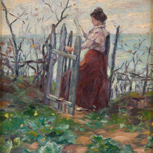 Herman VAN DEN BERGHE (École belge 20e) 板面油画:年轻女子从她的花园望向大海。  签名:赫尔曼 范登贝格。  尺寸:35…
