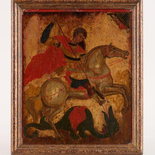 Travail créto vénitien 17e. Huile sur toile: Saint Georges terrassant le dragon.…