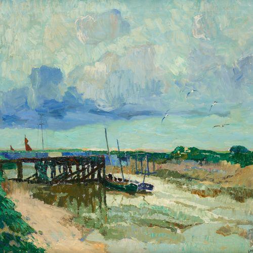 """Léon LONDOT École belge (1878 1953) Huile sur toile: """"Nieuport"""".  Signée: L. Lan…"""