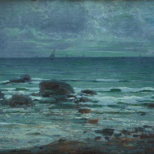 Carlo Costantino TAGLIABUE École italienne (1880 1968) 布面油画:大海的景色。  签名和日期:C.C. T…