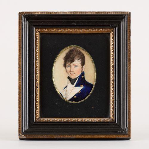 Travail du 19e. Miniature sur ivoire: Portrait présumé de l'Amiral Farber.  Indi…