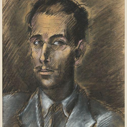 Albert SERVAES École belge (1883 1966) Pastel sur papier: Autoportrait présumé d…