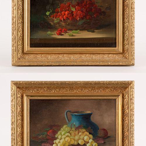 Georges DUVAL École française (1920 1993) 画板上的油彩(一套两幅)。樱桃和葡萄的组合。  签名:G. 杜瓦尔。  尺寸…