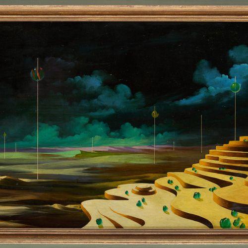 Eugène SAMAIN École belge (1935) Huile sur panneau: Paysage surréaliste aux bill…