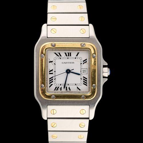 CARTIER. 手表:钢制和金制腕表,带日期窗口,自动机芯。  卡地亚品牌。  (磨损)。)  附上一个额外的链接。